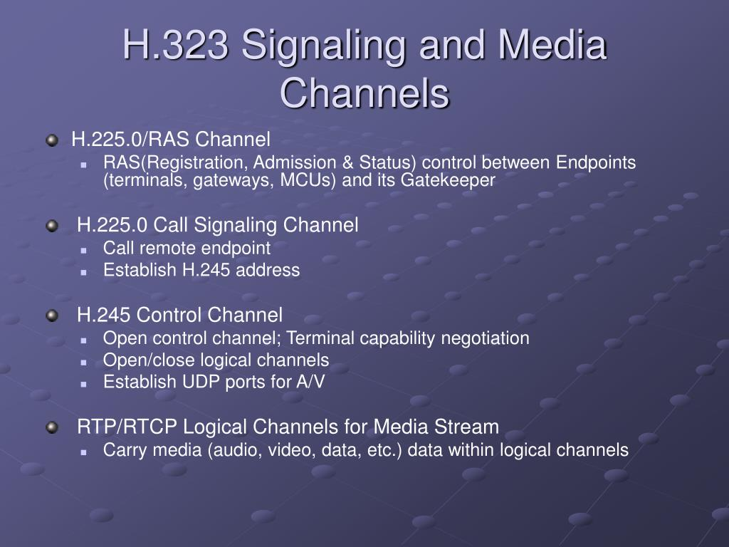 H.323 Signaling and Media Channels