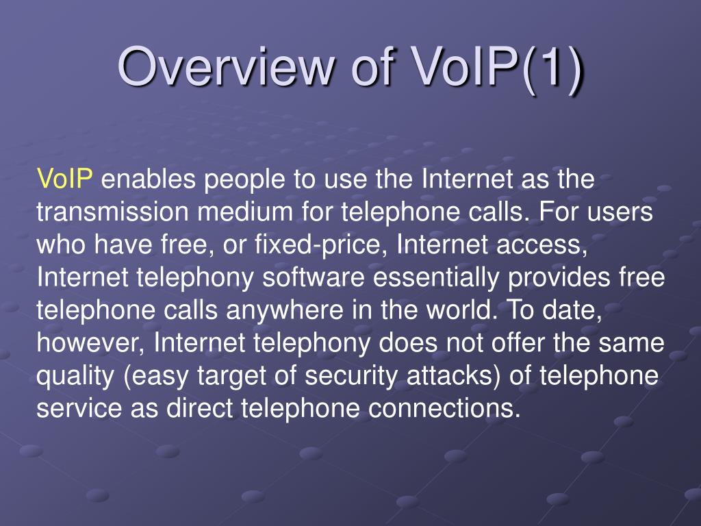 Overview of VoIP(1)