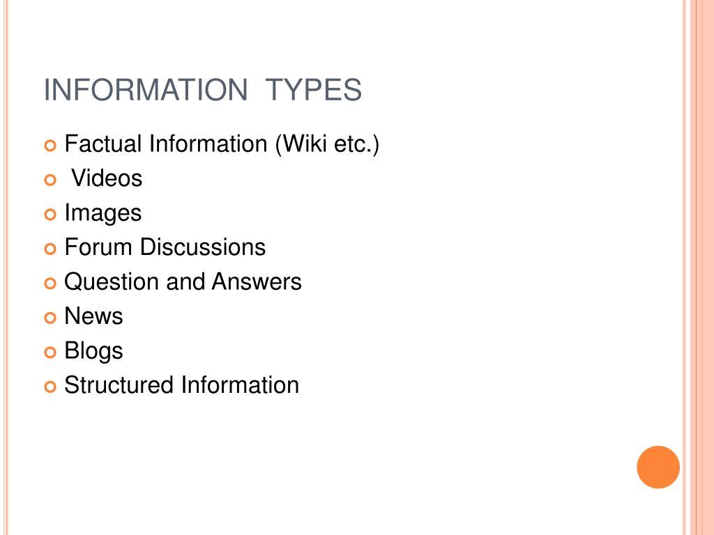 INFORMATION  TYPES