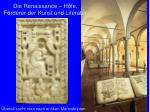 die renaissance h fe f rderer der kunst und literatur