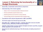lesson 3 reforming the functionality of a budget directorate