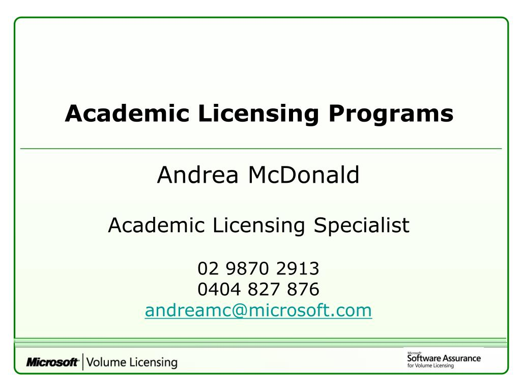 Academic Licensing Programs