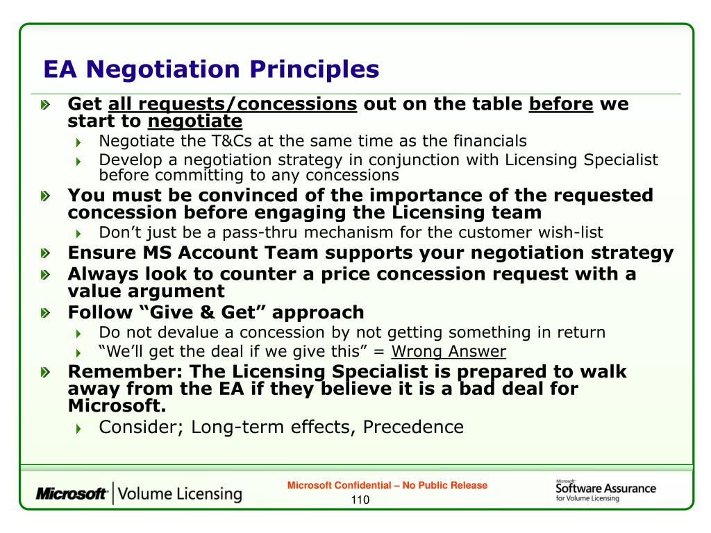 EA Negotiation Principles