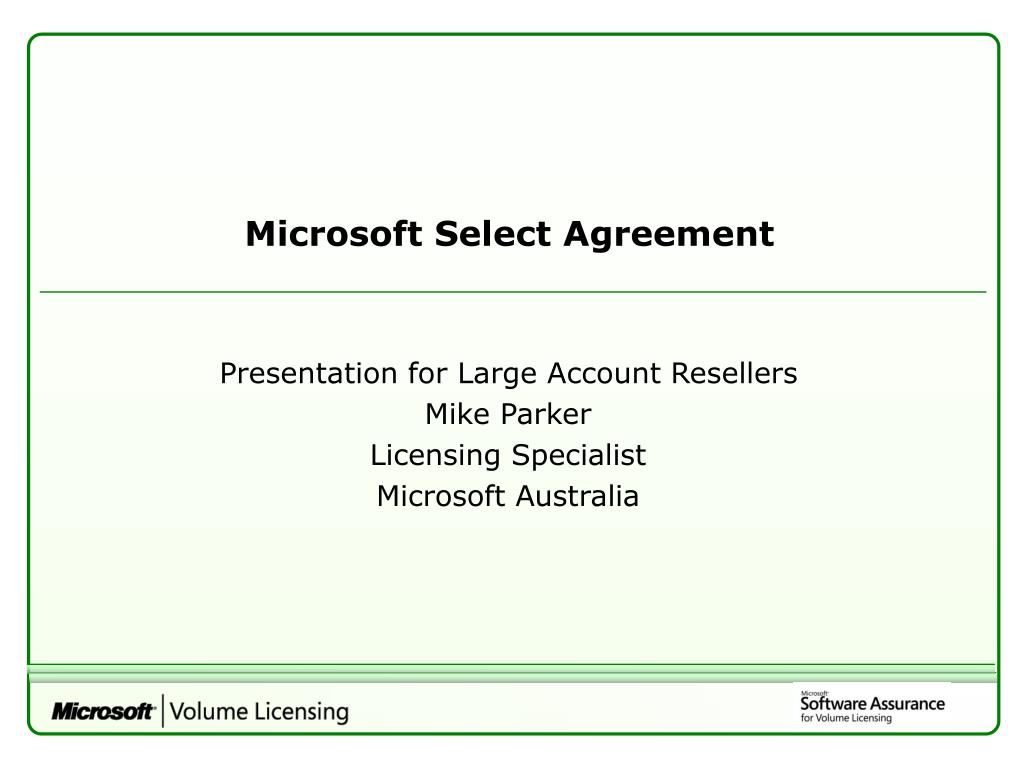 Microsoft Select Agreement