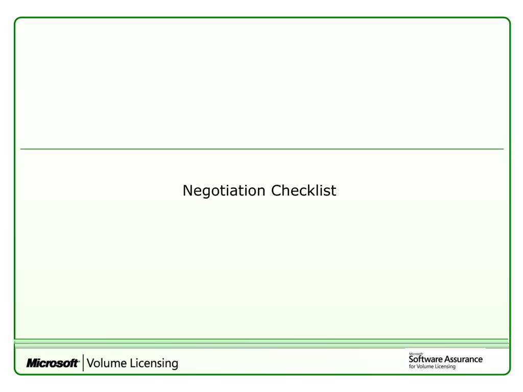 Negotiation Checklist
