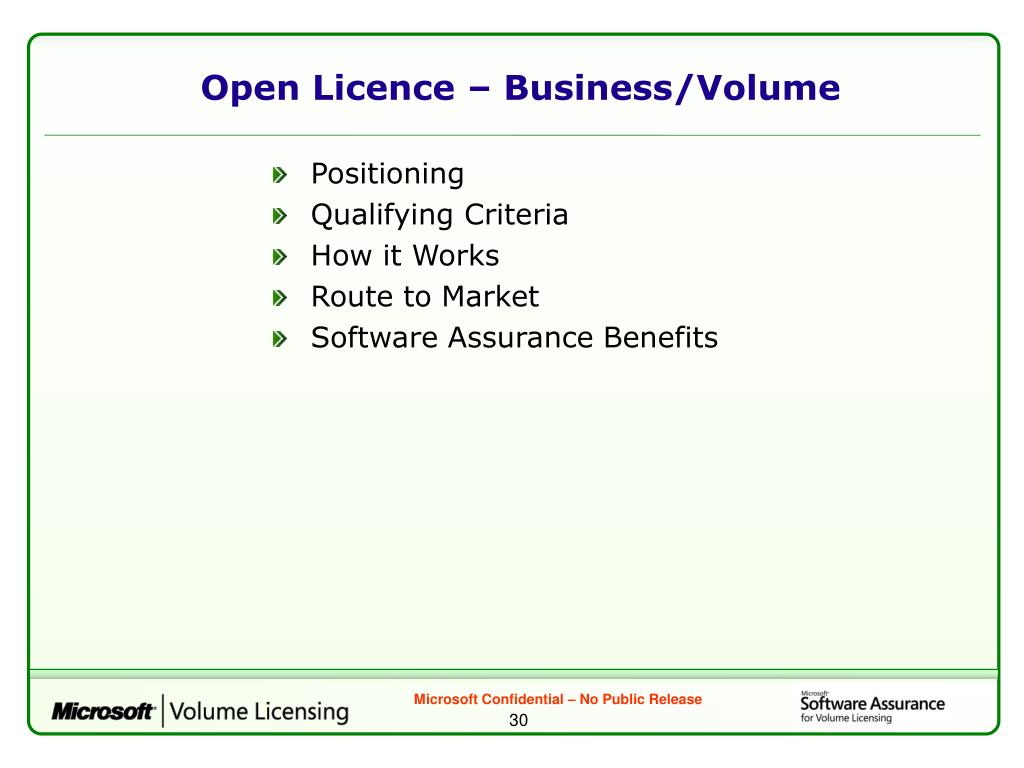 Open Licence – Business/Volume
