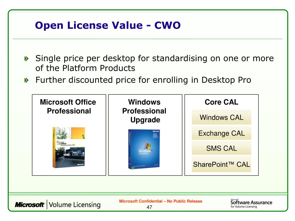 Open License Value - CWO