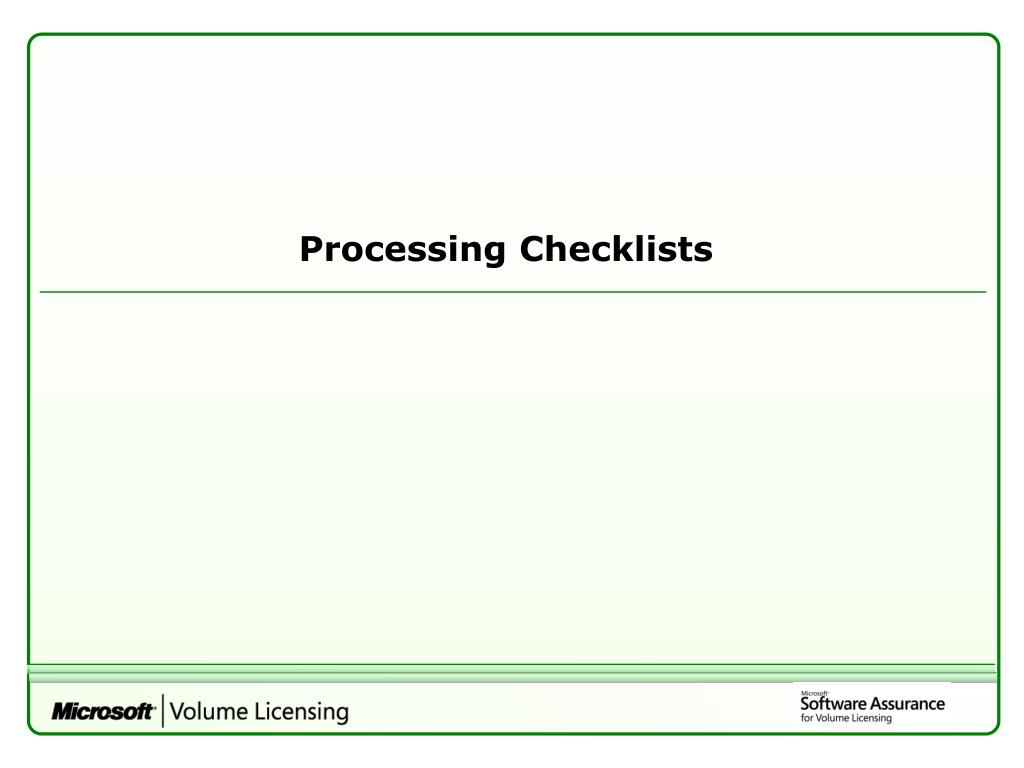 Processing Checklists
