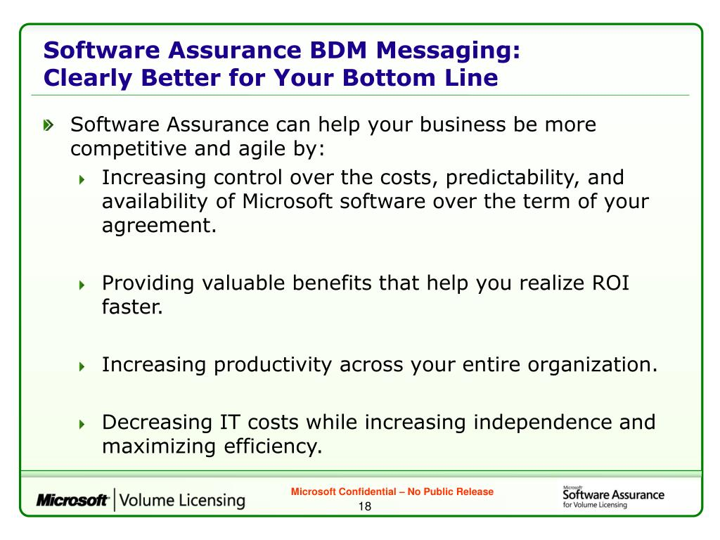 Software Assurance BDM Messaging: