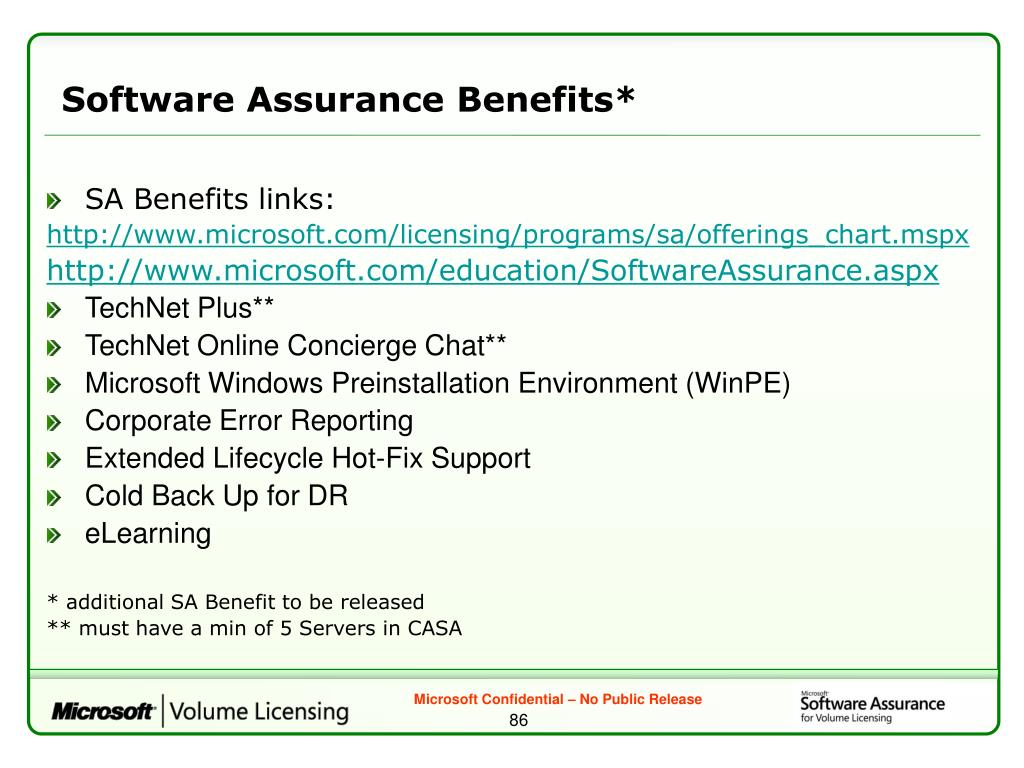 Software Assurance Benefits*