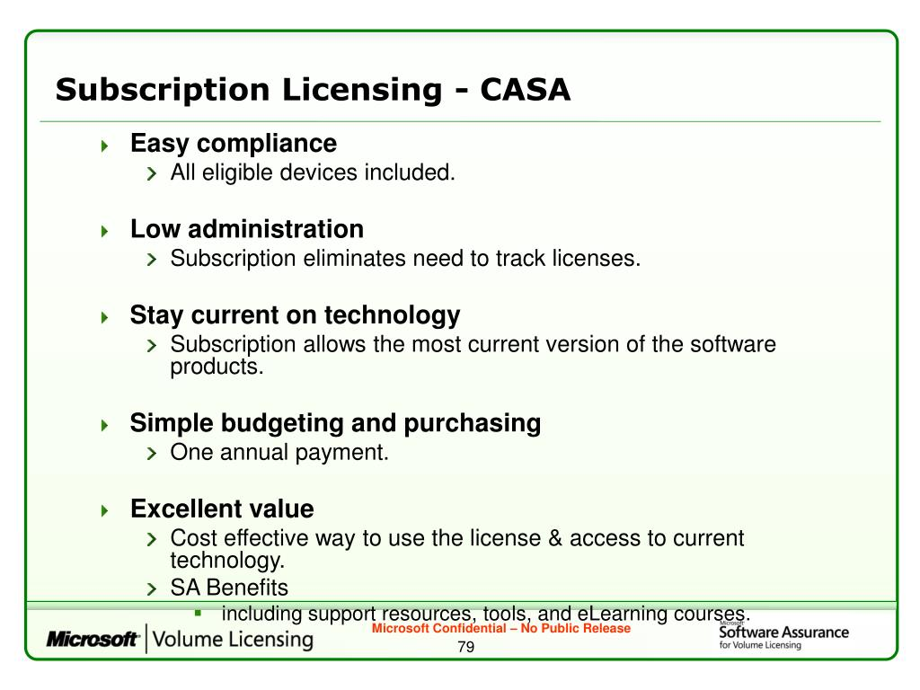 Subscription Licensing - CASA