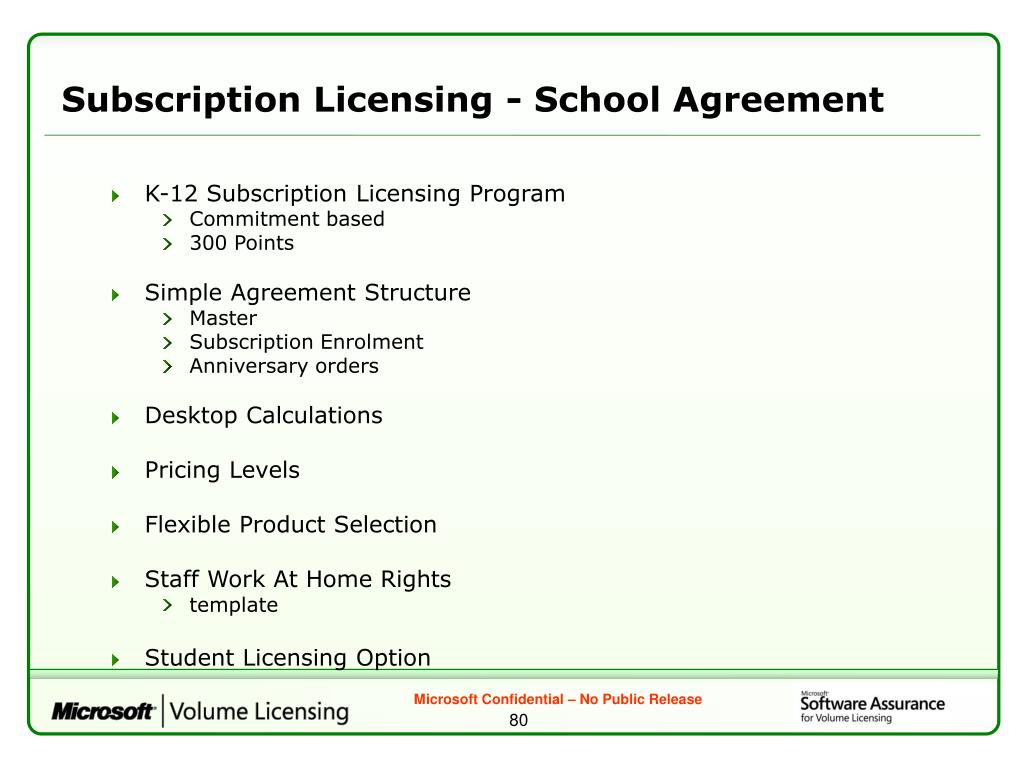 Subscription Licensing - School Agreement
