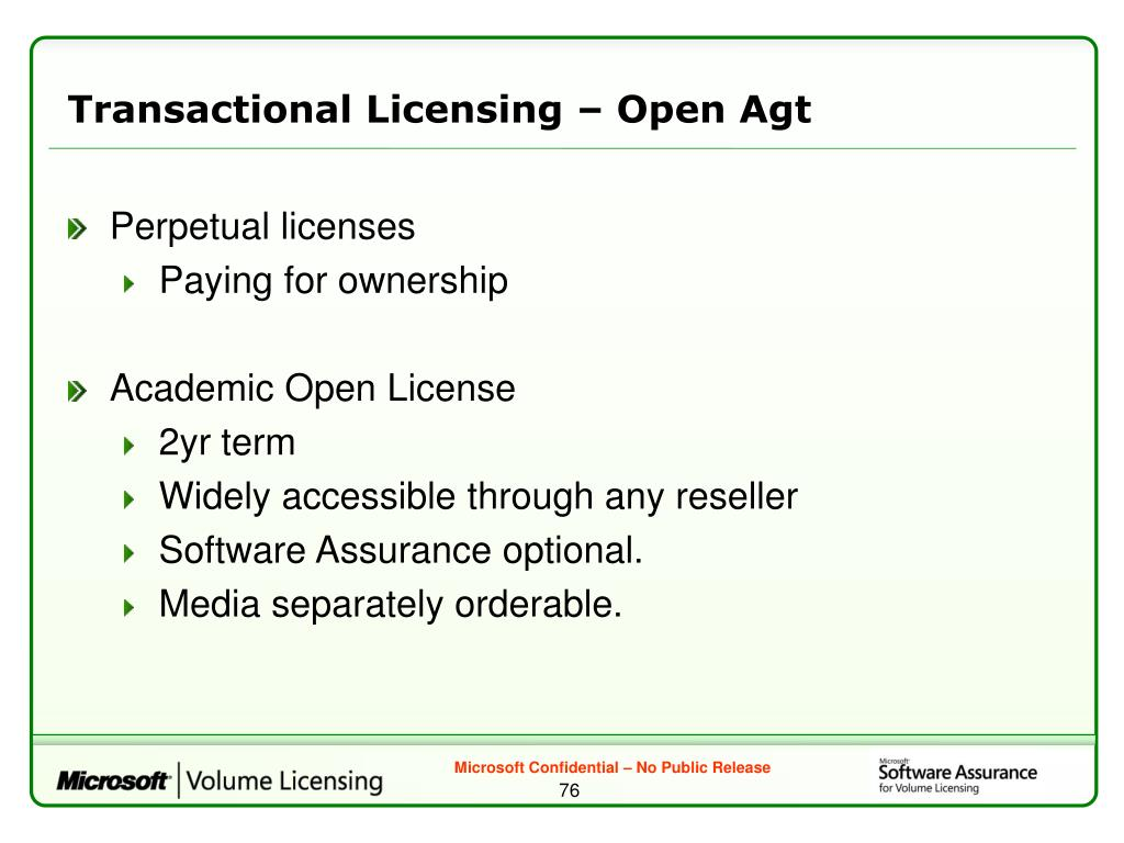 Transactional Licensing – Open Agt