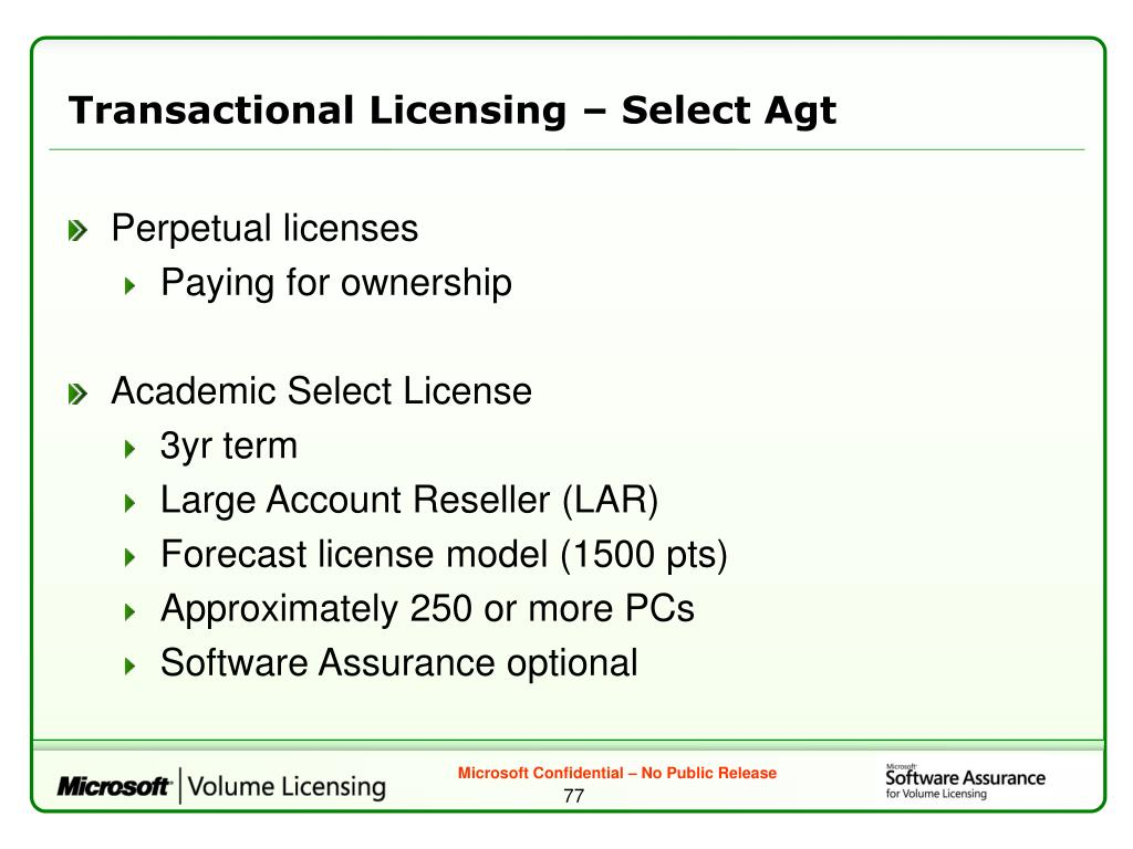 Transactional Licensing – Select Agt