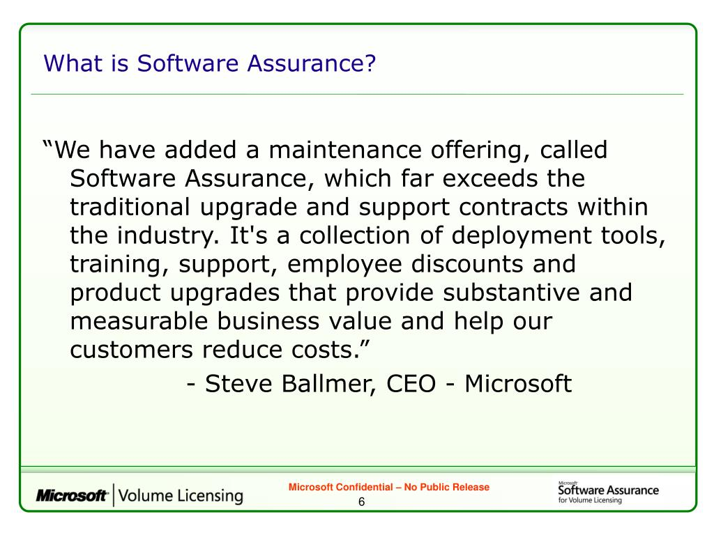 What is Software Assurance?