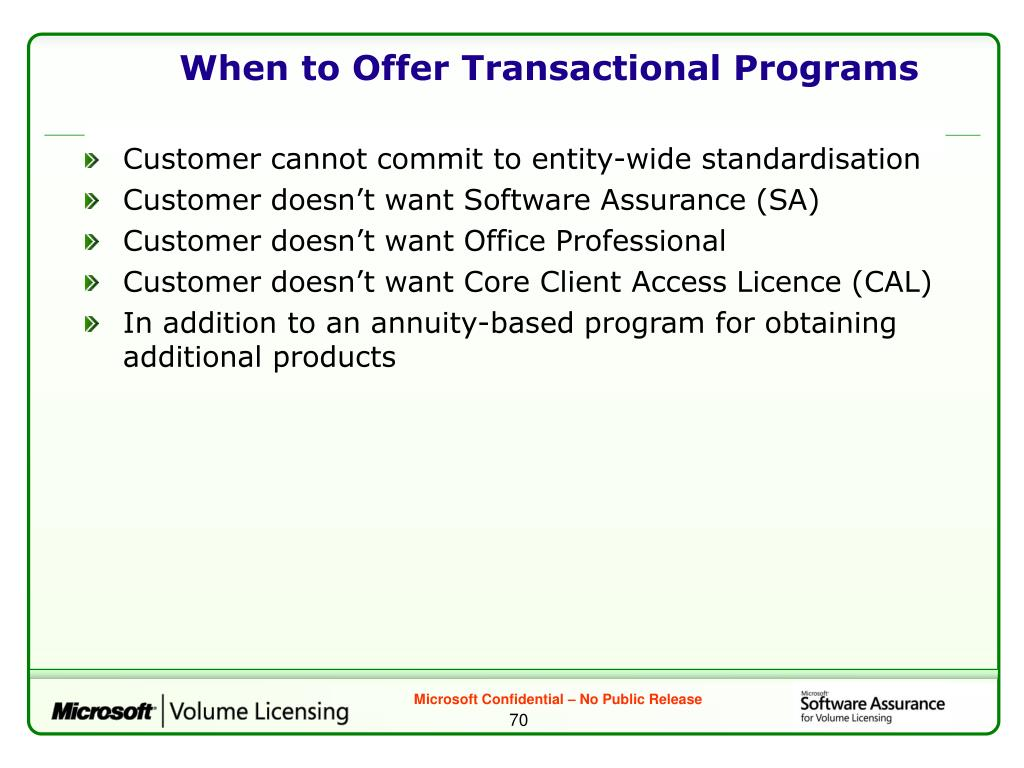 When to Offer Transactional Programs