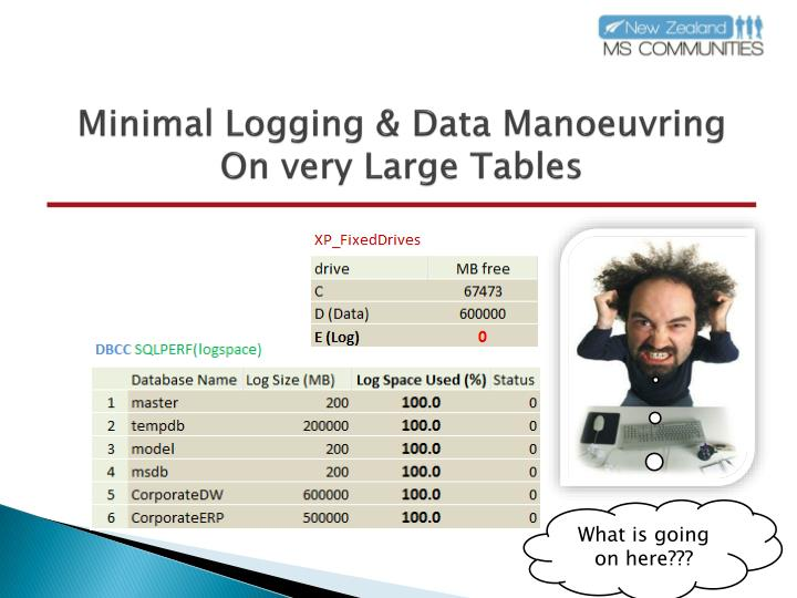 Minimal logging data manoeuvring on very large tables