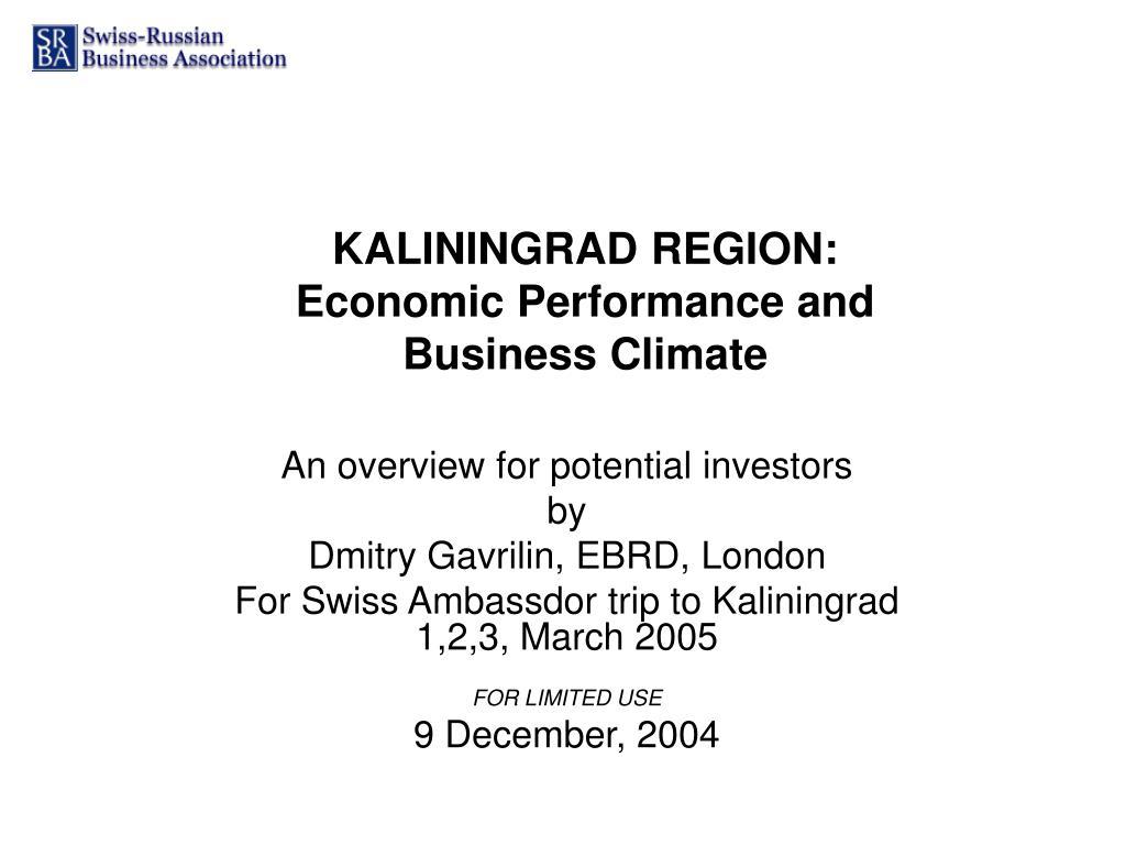 kaliningrad region economic performance and business climate l.