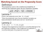 matching based on the propensity score