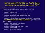 bufr template tm 307086 for synop data in compliance with reporting practices in ra vi