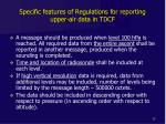 specific features of regulations for reporting upper air data in tdcf