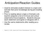anticipation reaction guides
