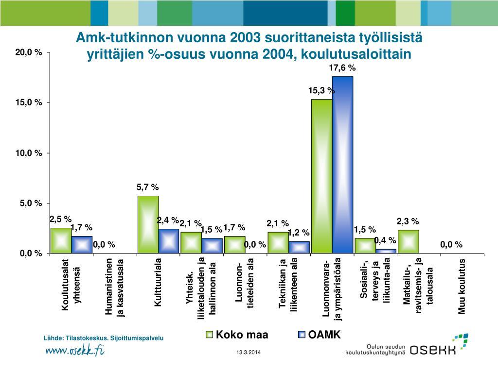 Amk-tutkinnon vuonna 2003 suorittaneista työllisistä