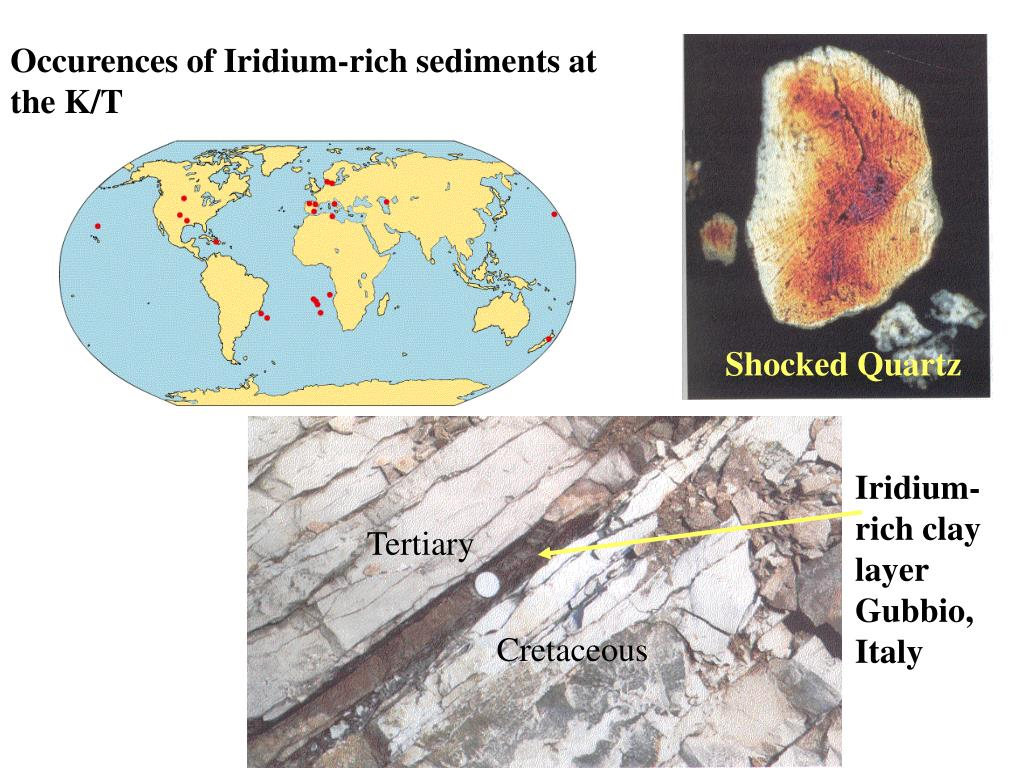 Occurences of Iridium-rich sediments at the K/T