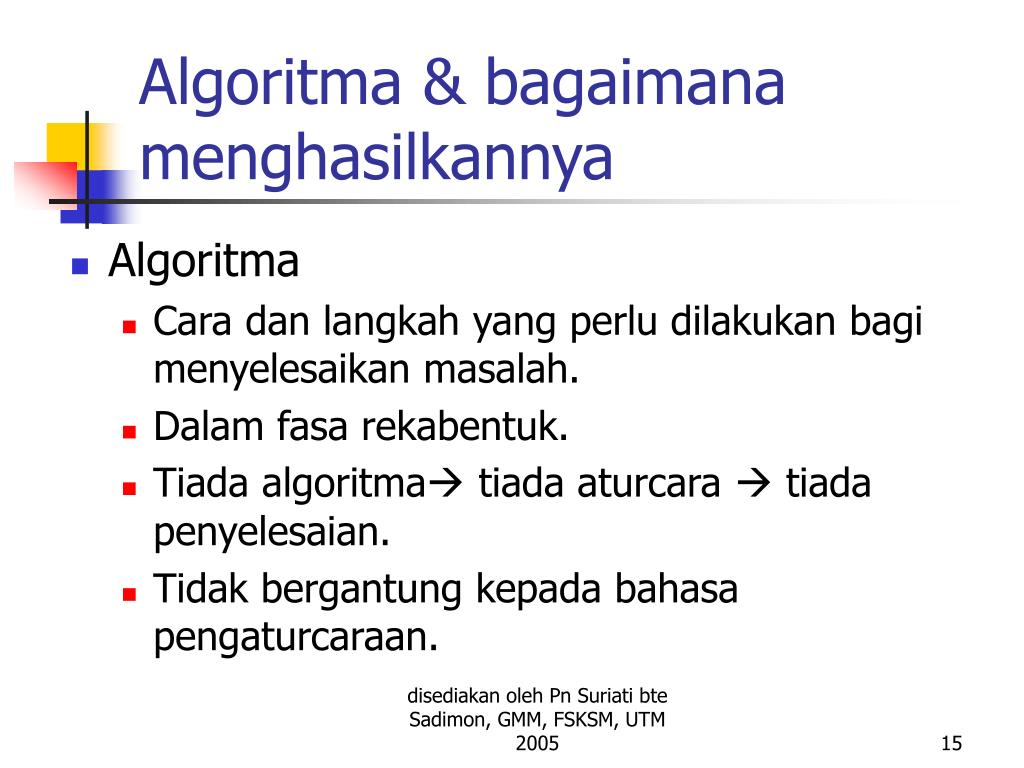 Algoritma & bagaimana menghasilkannya