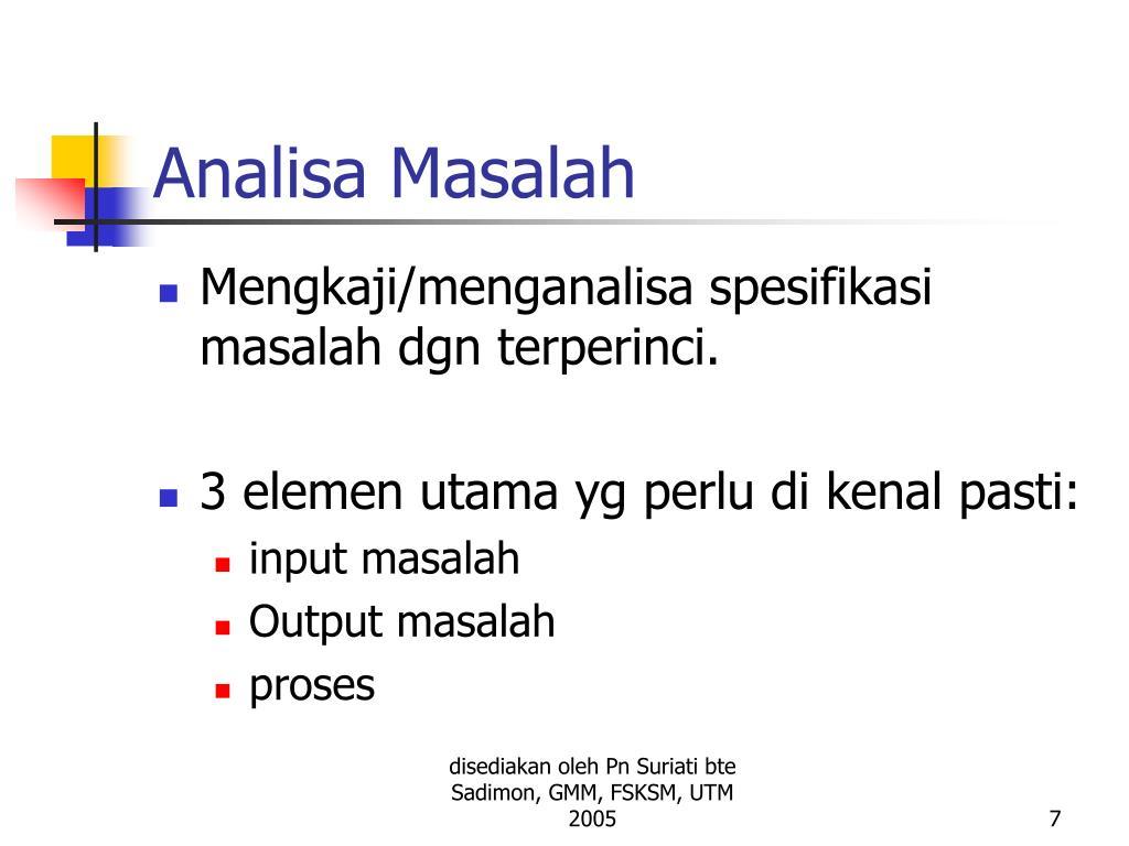 Analisa Masalah