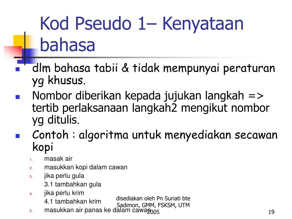 Kod Pseudo 1– Kenyataan bahasa