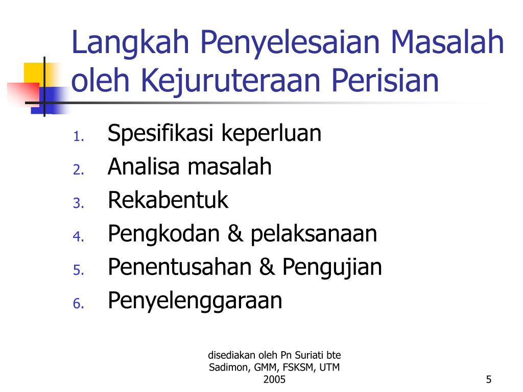 Langkah Penyelesaian Masalah oleh Kejuruteraan Perisian