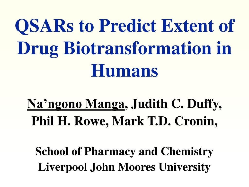 QSARs to Predict Extent of Drug Biotransformation in Humans