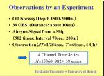 observations by an experiment