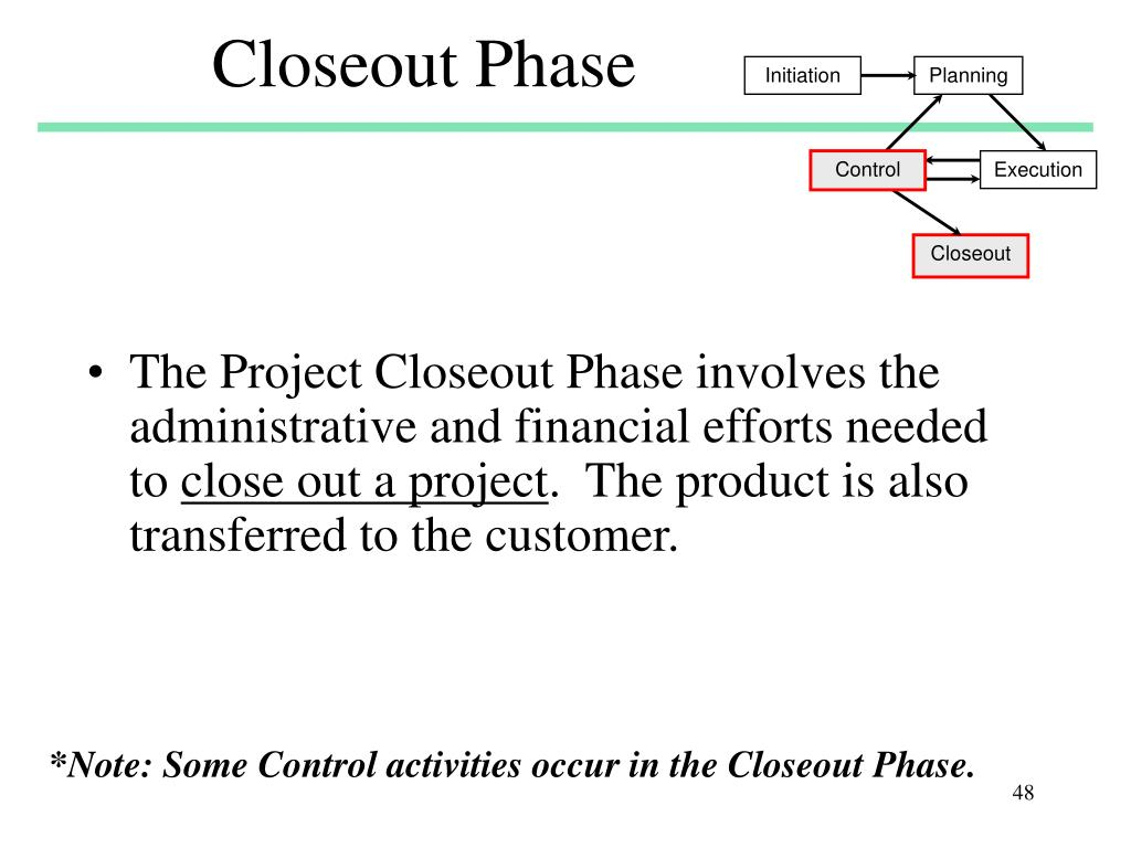 Closeout Phase