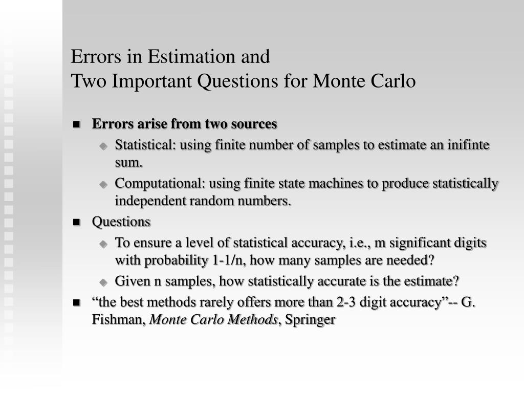 Errors in Estimation and