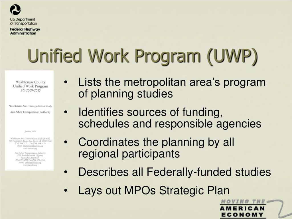 Unified Work Program (UWP)