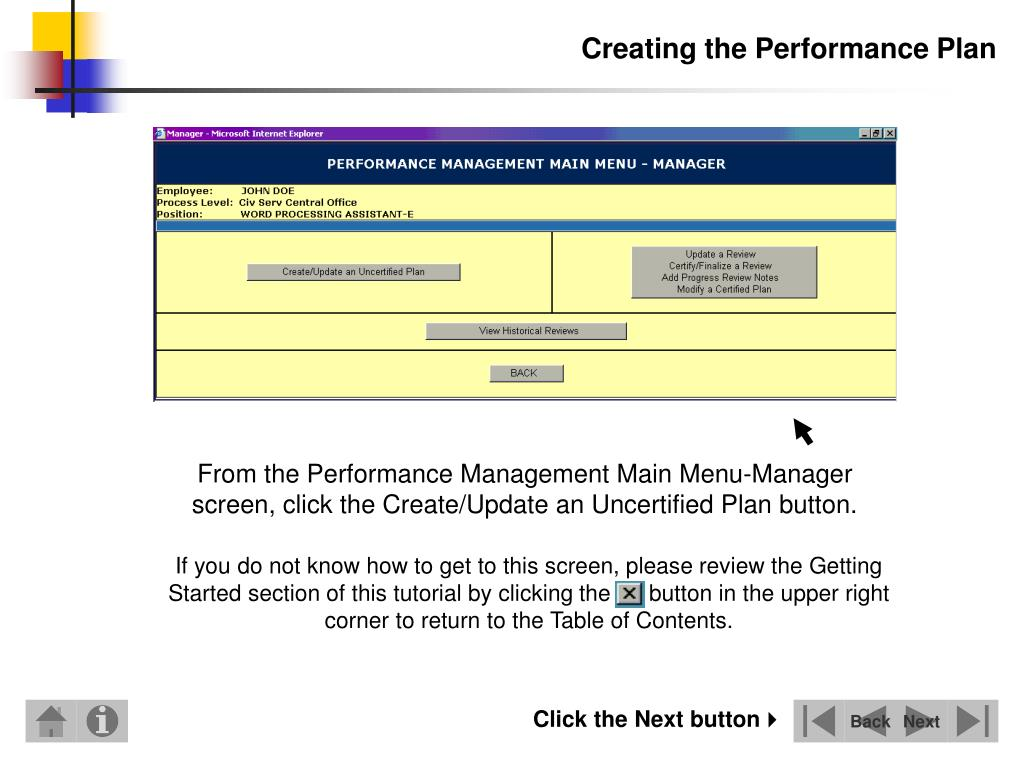 Creating the Performance Plan