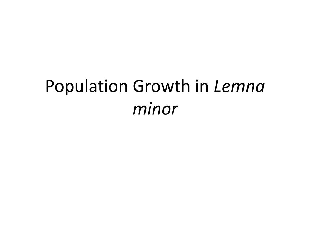 population growth in lemna minor l.