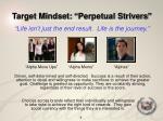 target mindset perpetual strivers