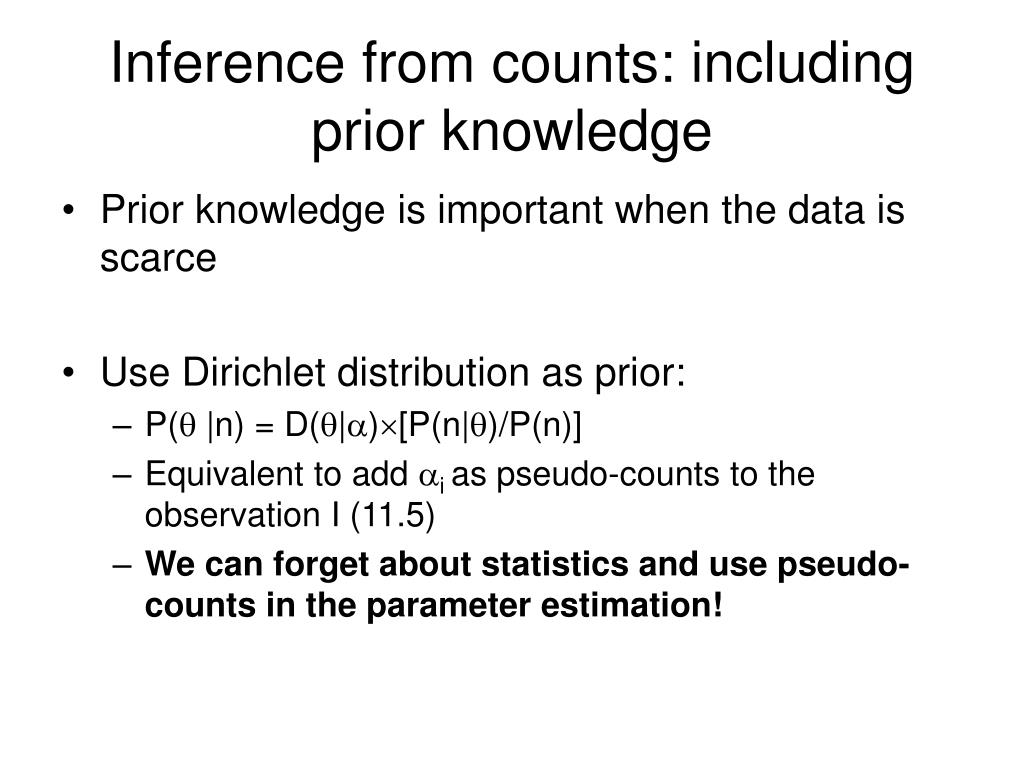 Inference from counts: including prior knowledge
