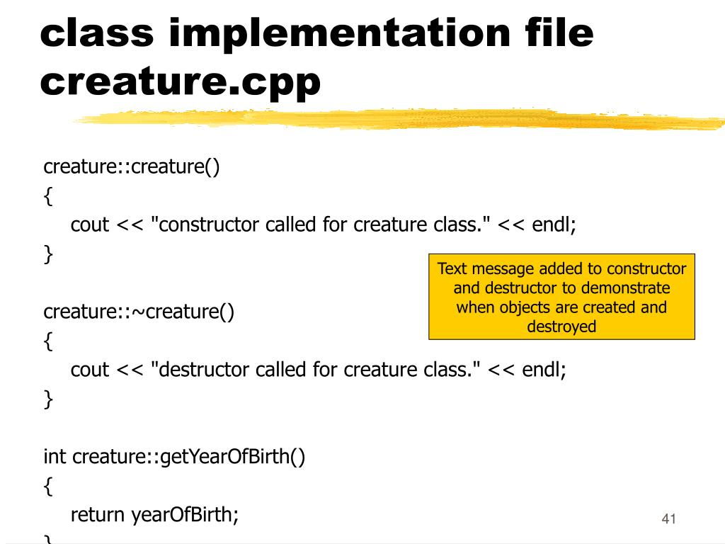 class implementation file creature.cpp