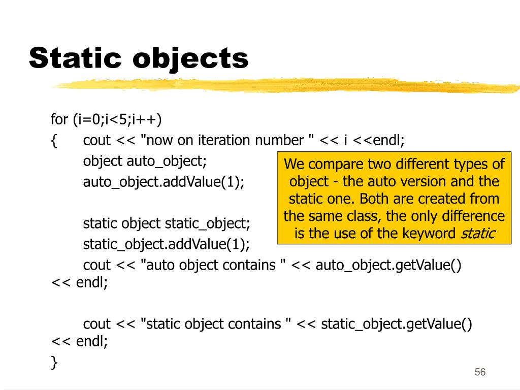 Static objects