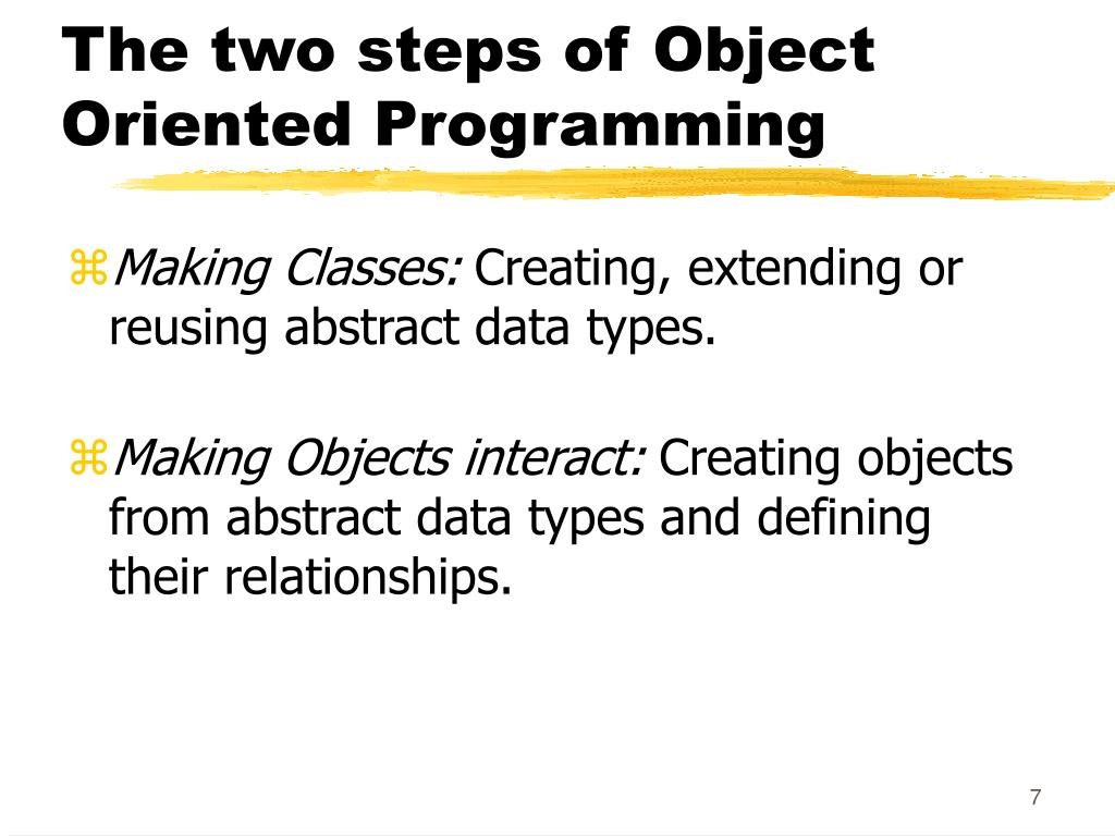 The two steps of Object Oriented Programming