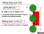 milling rate and time