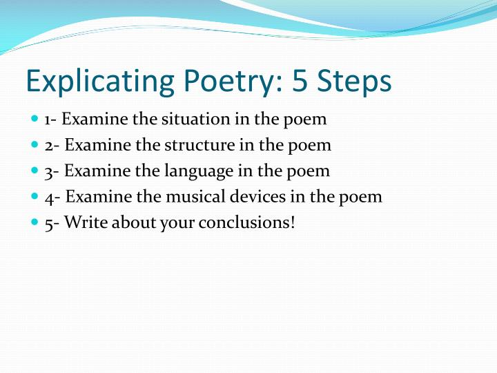 Explicating poetry 5 steps