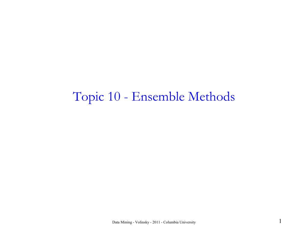 topic 10 ensemble methods
