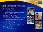 core 4 funding priorities