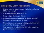 emergency grant regulations