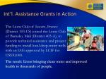 int l assistance grants in action
